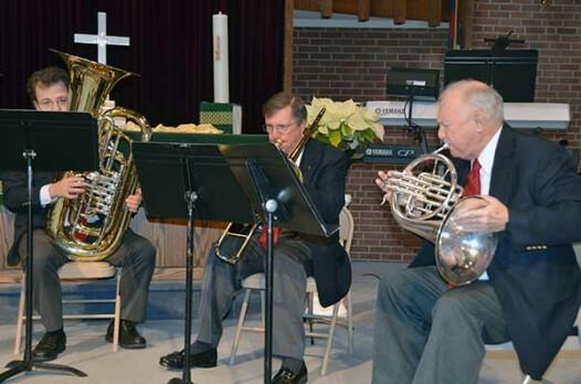 Three of the five members of Trinity Brass (l-r): Anthony Makusky, Matthew Stegle, Hal Grau.