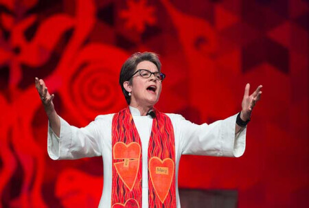 Bishop Sally Dyck delivers the sermon during morning worship at the 2016 United Methodist General Conference in Portland, Ore. Photo by Mike DuBose, UMNS.