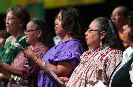 The Cherokee Choir from the Oklahoma Indian Missionary Conference sings during morning worship at the 2016 United Methodist General Conference in Portland, Ore. Photo by Mike DuBose, UMNS.
