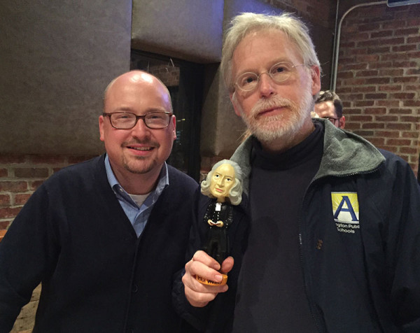 """Kerm Towler, right, a first year M.Div. student at Wesley Theological Seminary from Metropolitan Memorial UMC, stands with Prof. Ryan Danker, after his team, """"Old Geoffrey,"""" won Methodist Pub Trivia Oct. 24. Photo by Erik Alsgaard."""