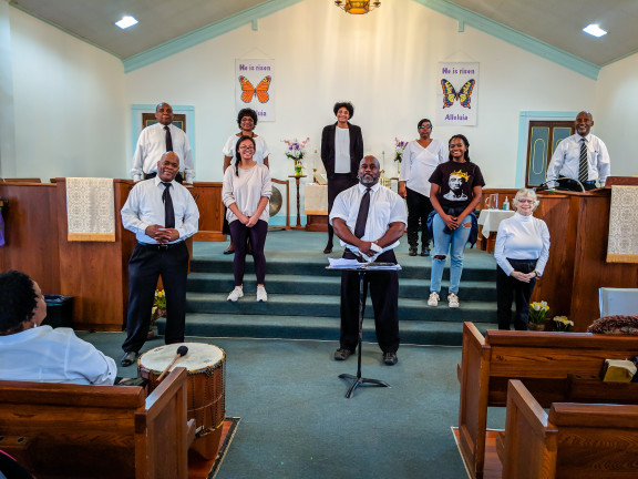 Members of the Christ Deaf UMC choir perform during worship at the church.