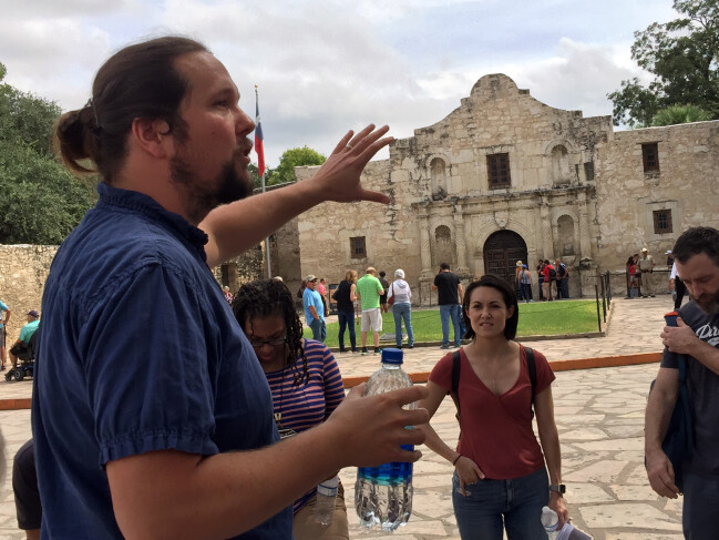 Matt Waller speaking to change makers at the Alamo